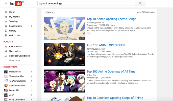 313000 anime opening videos. Better get started then.
